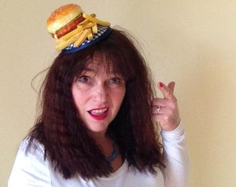 American Diner Hamburger and Chips Fascinator