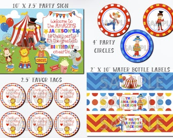 Circus Birthday Party Printable Package, Carnival Birthday Printable Package, Printable Circus Birthday Kit, Printable Carnival Birthday Kit
