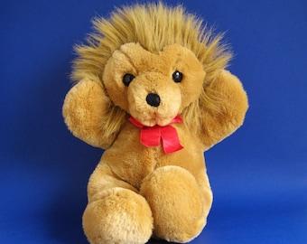 Vintage Lion Stuffed Animal Dakin Cuddles with Original Ribbon 1980s Toys 1988