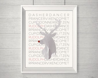 Rudolph - Reindeer PRINTABLE Christmas Wall Art!