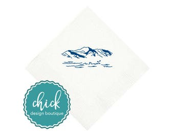 Mountains & Water Beverage Napkins Wedding Decor Fun Wedding Party Gifts Wedding Anniversary Party Gift Custom 2D410a