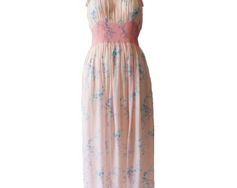 Vintage Hand Made Delicate Pink Floral Silk Day Dress 1940s