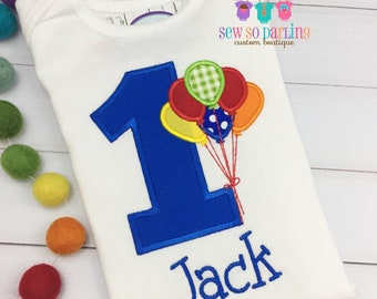 Baby Boy Primary colors Birthday Outfit - 1st Birthday Balloon Birthday Outfit - 1st Birthday Shirt - Boy Birthday clothes - First Birthday