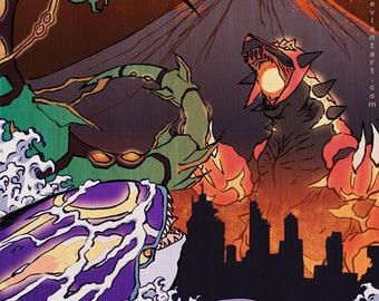 Clash of the Kaiju - Poster Print