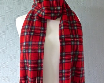 Red tartan scarf, red plaid scarf, long tartan concert scarf,  Royal Stewart Tartan scarf