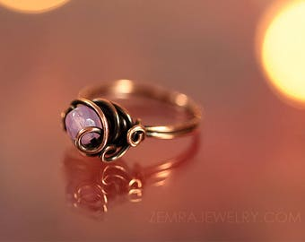 Copper Wire Wrap Rose Opal Czech Glass Boho Ring Size 9 Copper Jewelry Wire Wrap Ring Dancing Wire Loops October Birthstone Solitaire Ring