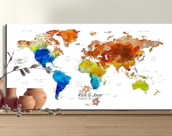Large world map etsy wedding guest book alternative canvas unique guest book sign wedding gift large push pin world map gumiabroncs Image collections