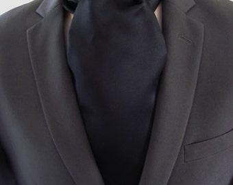 Mens Ascot Black Formal Self Tie  Mens Formal Ascot