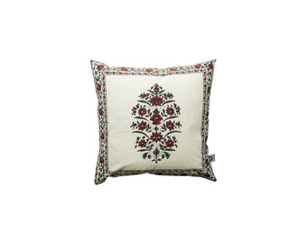 Hand block printed,100% cotton,Decorative cushion,Gulbahar collection,40cm x 40cm
