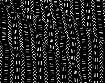 Mudcloth Fabric - Mudcloth No.2 In Black + White By Elliottdesignfactory - Mudcloth Black White Cotton Fabric By The Yard With Spoonflower