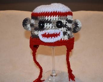 Sock Monkey Hat, Monkey Hat, Newborn Monkey Hat, Sock Monkey Beanie, Newborn Photo Prop, Sock Monkey Photo Prop, Quick Ship