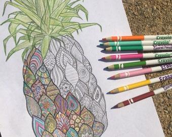 Zentangle Pineapple Coloring Sheet Digital Print Adult Book Art