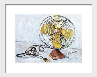 Vintage Electric Fan Painting Print, industrial design painting yellow brown black white painting  by Gwen Meyerson
