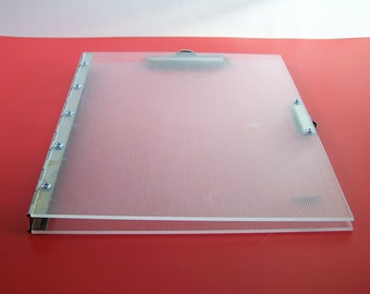Clipboard, notepad holder, metal and acrylic with  2 clips Mawa Design 1980