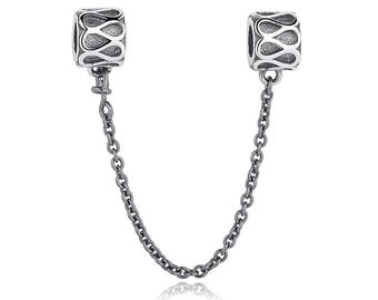 Sterling Silver (.925) Raindrops Safety Chain Fits All European Bracelets or Necklaces