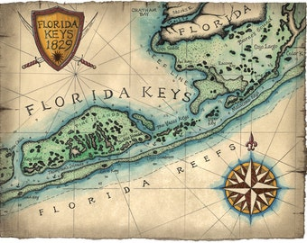 Florida Keys Reef Map Art c.1829 12 x 16, Key West Map, Key West, Islamorada, Florida Keys, Key Largo, Bahia Honda, Florida Maps, Florida