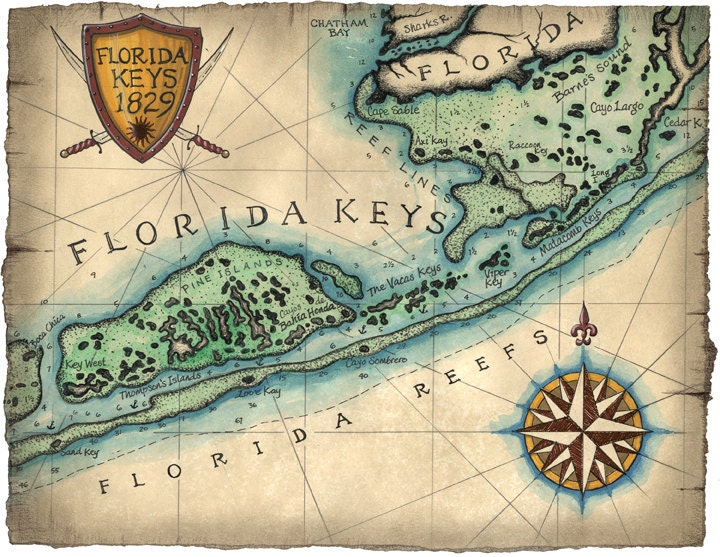 Florida keys reef map art c1829 12 x 16 key west map key zoom gumiabroncs Image collections