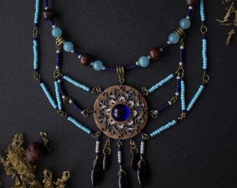 boho blue pendant necklace, ethnic african necklace natural stones, Indian blue necklace, ethnic pendant blue stone, tribal indian jewelry