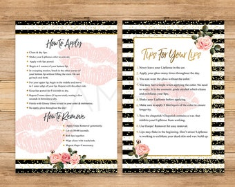 LipSense Tips and Tricks, LipSense How To Apply, Application Cards, LipSense Senegence Distributor, Black Striped Floral, Gold Pink Lips