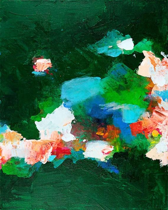 Modern Abstract print green