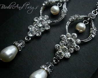 Bridal Chandelier Earrings Wedding Classic Pearl And Rhinestone Bridal Earrings SALE