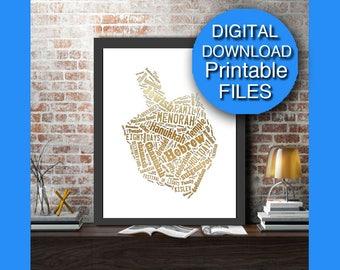 Hanukkah Dreidel Printable Wall Art, Gold, Chanukah Dreidel, A4 8x10 A3 16x20