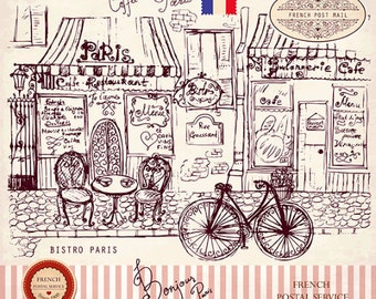 Parisian cafe. Illustration in style of a sketch. Fine art print. Beautiful print for living room or bedroom.