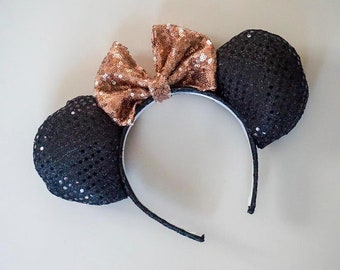 Black Sequin Rose Gold Bow Ears