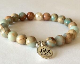 Aqua Terra Jasper Mala, Lotus, Mala Bracelet, Gemstone, Wrist Mala, Yoga Bracelet, Meditation Mala, Crystal Healing, Prayer Beads, Reiki,