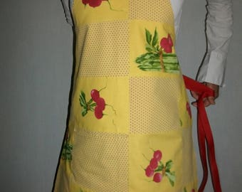 Kitchen apron patchwork of yellow red and green - yellow and Red - patchwork apron radish red and asparagus apron - cotton apron