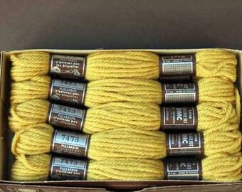 8 m skein 7473, light mustard yellow tone, 100% pure wool Colbert DMC