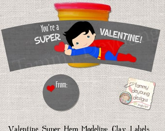 Superhero Valentines that fit Play Doh® cans, Valentines for kids, Super Hero Party Favors, printable non-candy treats, Valentines for boys