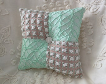 """Pillow Vintage Chenille Morgan Jones and Cabin Crafts in Mocha and Mint Green...12 x 12"""""""