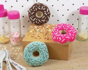 Donut keychain. Handmade crochet amigurumi. Kawaii gift