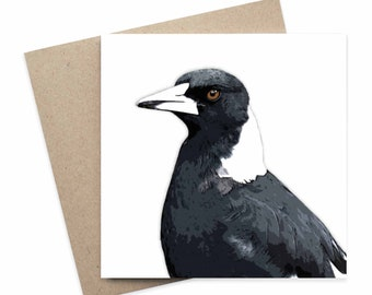 Wendy / Magpie Australian Animal Greeting Card / Digital Artwork