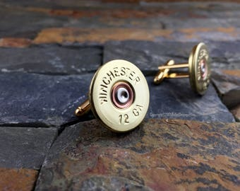 Bullet Cufflinks, Winchester 12 Gauge Brass Shotgun Cuff Links Cufflinks - Gold Ton,  Gold Cufflinks, Shotgun Cufflinks, Wedding Cufflinks