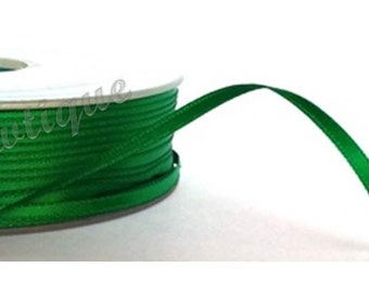 Emerald Green 3mm Double Faced Satin Ribbon *Sold Per Metre*