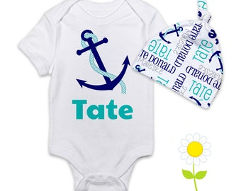 Personalized Anchor Baby Boy Gift Set - Nautical Bodysuit or Gown & Knotted Beanie Hat - Custom Name Hat and One-Piece - Coming Home Outfit