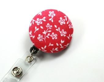 PINK Flower Fabric Badge Reel, Retractable Badge Reel, Button Badge Reel, Pink Badge Reel, Floral Badge Reel