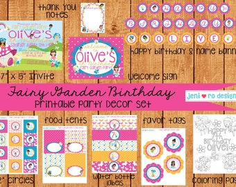 Fairy Garden Printable Birthday Decor set - Personalization included!
