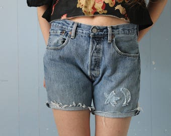 Vintage 90s LEVIS 501s Cut Offs/Jean Shorts/Star and Moon/Faded/Patched/Festival Shorts/Boho Shorts/