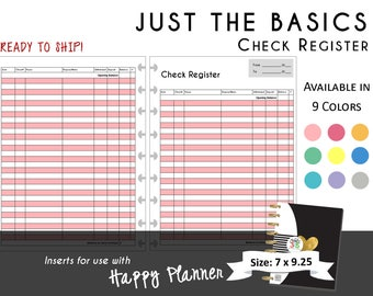 PRINTED Happy Planner Check Register Inserts  9 Colors Available  CLASSIC 7 x 9.25  | Create 365 | mambi  Me & My Big Ideas  Ready to Ship!