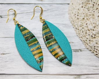Turquoise striped earrings