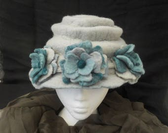 Hand Felted Cloche, Felt Hat with Roses, Edwardian style hat, hand felted hat, special occasion hat, duck egg blue, reversible felt hat