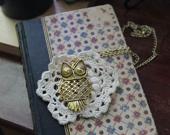 Brass Owl with Vintage Doily Necklace