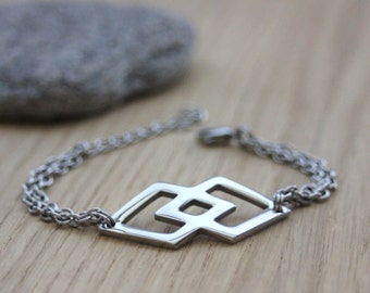 "Stainless steel bracelet Ethnic style ""Navajo""  - minimalist bracelet - diamond bracelet - geometric bracelet - silver bracelet"