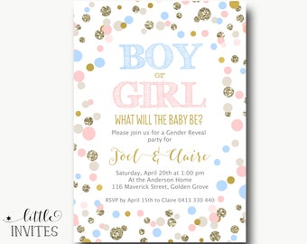 Baby shower Invitation/Pink Blue Baby Shower/Gender Reveal Invitation/Printable/Twins birthday invitation/1st/Baby Sprinkle-Joel & Claire