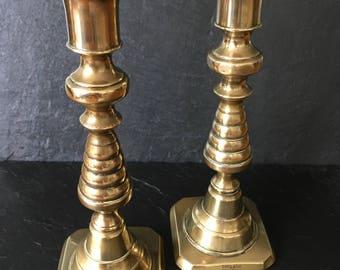 Brass Candlesticks. Victorian candlesticks. Beehive Brass Candlesticks. Victorian brass candlesticks. Vintage brass. Vintage Victorian brass
