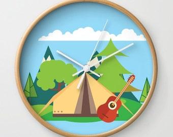 Kids Wall Clock - Camp Wall Clock , Nursery Clock , Wooden Wall Clock , Kids Room Decor , Children Clock , Nursery Wall Clock , Kid Clock