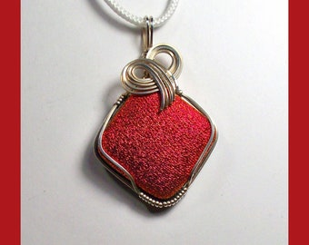 DICHROIC GLASS PENDANT - Red Satin High Gloss Finish - Sterling Silver Wire Wrap - Made In Maine